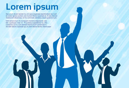 successful businessman: Business People Celebration Silhouette Hands Up, Businessmen Concept Winner Success Vector Illustration