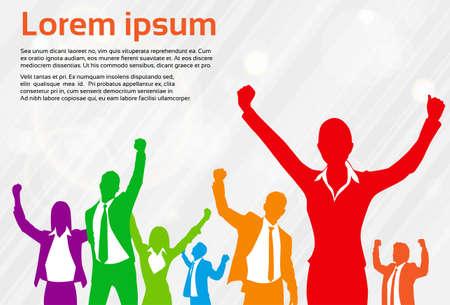 Biznes Ludzie Celebration Kolorowe sylwetka Hands Up, Businesswoman Koncepcja Winner Ilustracja wektora Sukces Ilustracje wektorowe