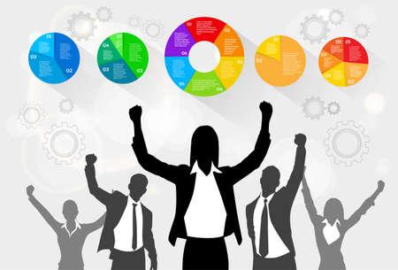 business leader: Business People Celebration Silhouette Hands Up, Businesswoman Concept Winner Success Social Media Marketing Target Group Audience Vector Illustration Illustration