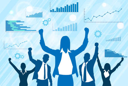 raised: Business People Group Celebration Silhouette Excited Hold Hands Up Raised Arms, Businesswoman Concept Winner Success Finance Chart Background Vector Illustration