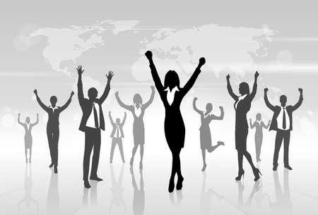 Business People Celebration Silhouette Hands Up, Businesswoman Concept Winner Success Vector Illustration