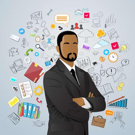 black american: Businessman African American Race Over Doodle Hand Draw Sketch Concept Background Business Man Vector Illustration Illustration