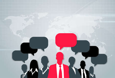 black people: Business People Group Silhouette Speech Chat Bubbles Communication Concept Red Black Vector Illustration