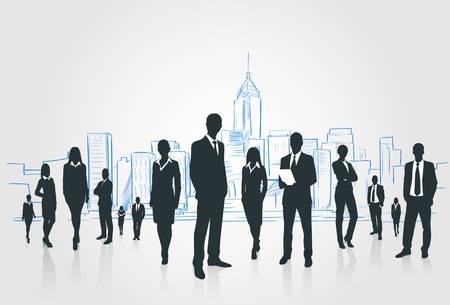 Business People Group silhouetten Ondernemers Over Stad Landschap moderne kantoorgebouwen, Vector Illustratie