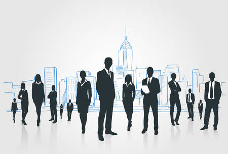 Business People Group Silhouettes Businesspeople Over City Landscape Modern Office Buildings, Vector Illustration