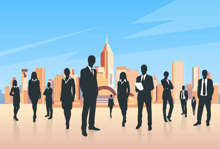 city landscape: Business People Group Silhouettes Businesspeople Over City Landscape Modern Office Buildings, Vector Illustration