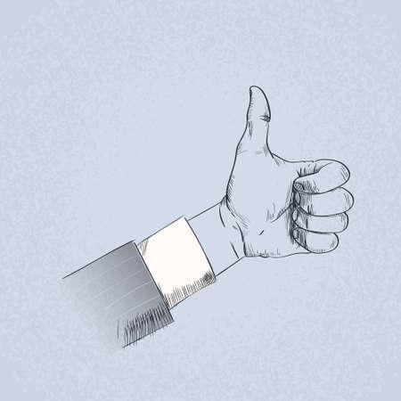 human hand: Thumb Up Hand Gesture Business Man Sketch Retro Vector Illustration