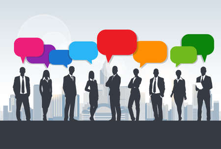Business People Group Silhouette Speech Chat Bubbles Communication Concept Vector Illustration