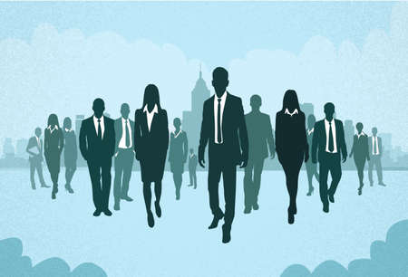 global work company: Group of Business People Silhouettes Walking Forward Concept Businesspeople Vector Illustration Illustration