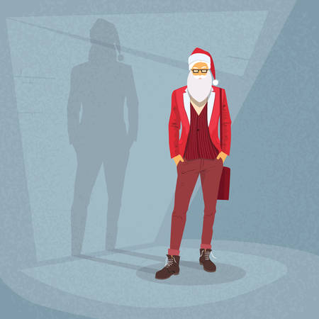 man shadow: Cartoon Santa Claus Hipster Style Fashion Guy Happy New Year Merry Christmas Shadow Silhouette Open Door Retro Shape Flat Vector Illustration Illustration