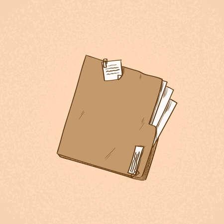 document file: Folder Orange Paper Document File Sketch Retro Vector Illustration