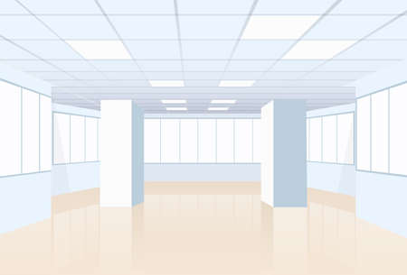 modern office: Empty Office Conference Room Studio Building Real Estate Interior Big Hall White Copy Space Vector Illustration Illustration