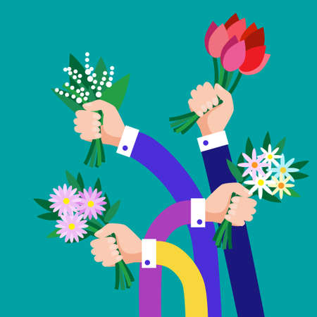 colleagues: Hands Group Hold Bouquet Flowers Business Flat Vector Illustration Illustration