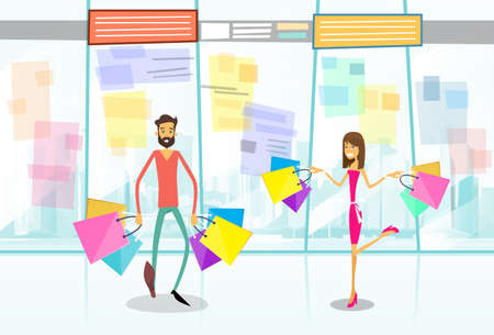 boutique display: Couple Shopping Man and Woman Walking with Bags in Modern Luxury Shop Mall Center Vector Illustration Illustration