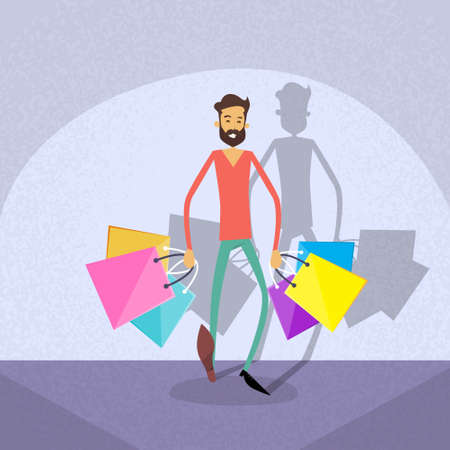 Shopping Man Walking with Shop Bags Flat Vector Illustration