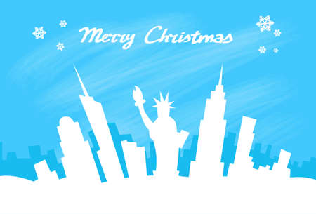 megalopolis: New York Skyline City Skyscraper, Christmas Silhouette Flat Vector Illustration