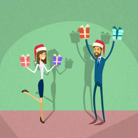 retro wear: Businesspeople Wear Santa Hat Merry Christmas And Happy New Year Business People Team Flat Retro Concept Vector Illustration