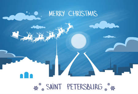 saint petersburg: Santa Claus Sleigh Reindeer Fly Russian Sky over Saint Petersburg City Silhouette Night Cityscape Snow Skyline Christmas New Year Card Vector Illustration