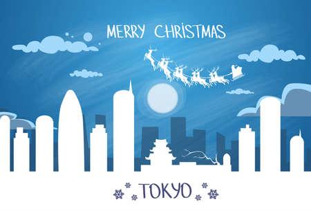 japan sky: Santa Claus Sleigh Reindeer Fly Japan Sky over Tokyo City Silhouette Night Cityscape Snow Skyline Christmas New Year Card Vector Illustration