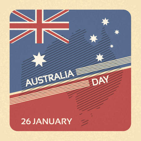 australia: Australia Day Flag National Banner Retro Card Vector Illustration Illustration