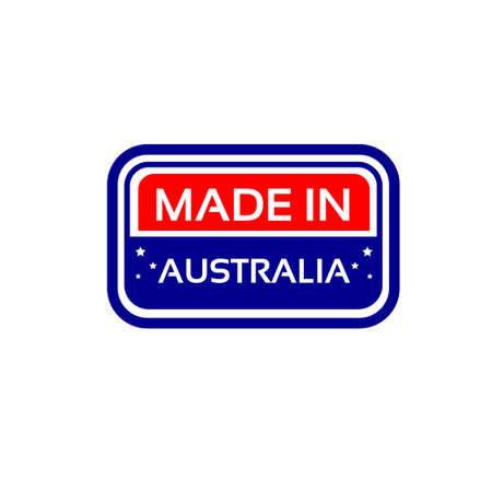 australia stamp: Made In Australia Flag Color Stamp Vector Illustration