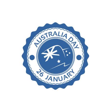 national holiday: Australia Day Stamp Flag National Holiday Flat Vector Illustration Illustration
