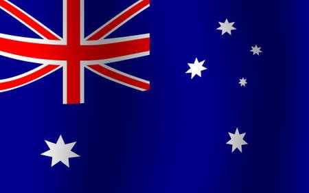 wave tourist: Australia National Flag Waving Flat Vector Illustration
