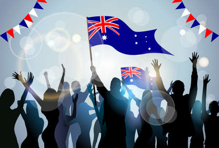 People Group Silhouette Crowd Hold Flag Australia Day Party Vector Illustration