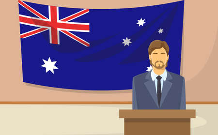 tribune: Australia Flag Tribune Speech Businessman Politic Flat Vector Illustration