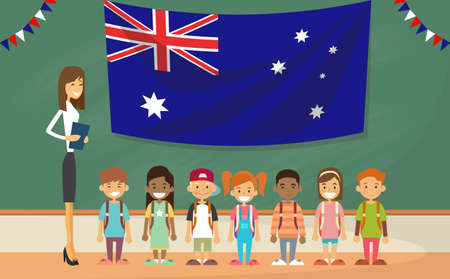 clip board: Teacher School Holding Australia Flag Children Board Classroom Flat Vector Illustration