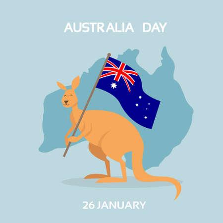 Drapeau de Kangourou de l'Australie jour National Country Map vacances plat Vector Illustration
