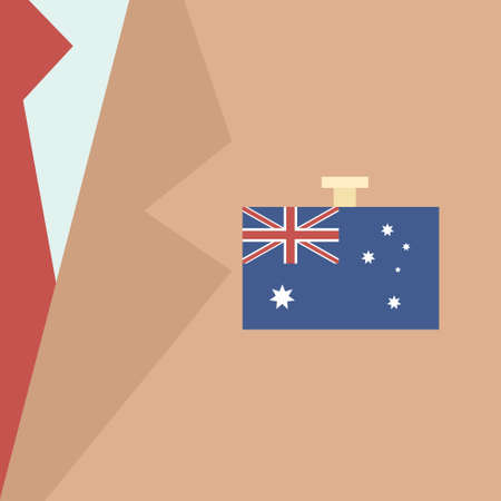businessman suit: Australia Flag Businessman Suit Politic Flat Vector Illustration