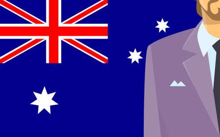 politic: Australia Flag Businessman Suit Politic Flat Vector Illustration