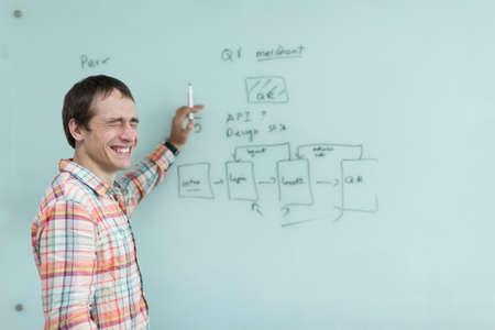 board marker: Business man drawing office white board marker mobile application development plan sketch