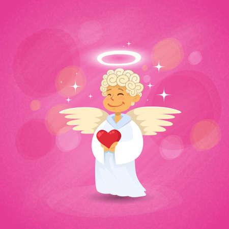 amur: Valentines Angel Cupid Saint Valentine Holiday Heart Vector Illustration Illustration