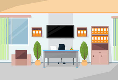 working place: Office Interior Desk Working Place Room Flat Vector Illustration