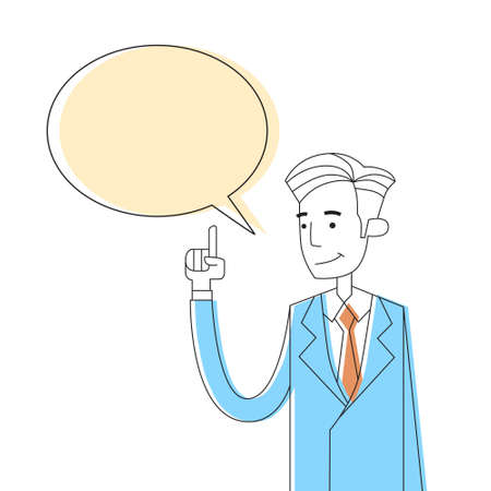 hand on chin: Businessman Point Finger Chat Box Bubble Copy Space Concept Thinking New Idea Thin Line Sketch Vector Illustration