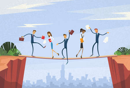 unreliable: Businesspeople Group Unstable Shaking Over Cliff Team Problem Business People Risk Concept Flat Vector Illustration Illustration