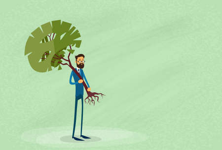 cope: Businessman Holding Green Tree Environmental Protection Concept Vector Illustration Illustration