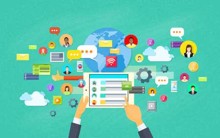 interaccion social: Desarrollo de aplicaciones móviles, Tablet App Programación ilustración vectorial