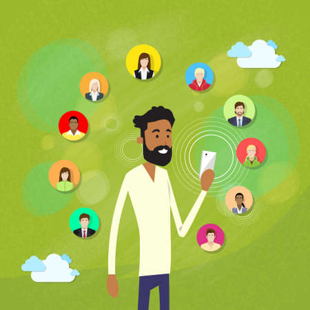 African American Man With Beard Using Smart Cell Phone Internet Chatting Social Network Communication Friends Group People Concept Vector Illustration