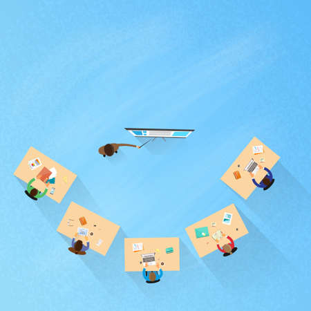 People Group Sitting Classroom Student Desk University Lecture, Business Seminar Top Angle Above View Flat Vector Illustration