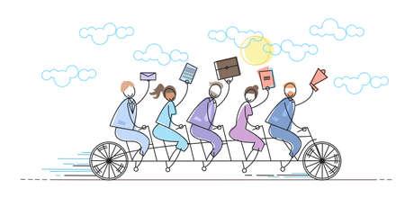 Business People Group Riding Bike Teamwork Concept Vector Illustration