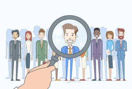 Recruitment Hand Zoom Lupe Picking Geschäftsmann oder Geschäfts Candidate People Group Wohnung Vector Illustration