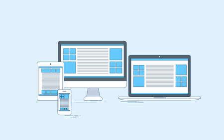 laptop screen: Responsive Design Laptop Phone Tablet Desktop Device Screen Size Thin Line Vector Illustration Illustration