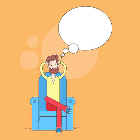 comfort: Man Beard Sitting In Armchair Relaxing Comfort Home Dream Cloud Copy Space Thin Line Vector Illustration