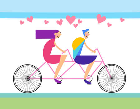 romantic couple: Couple Love Ride Tandem Bicycle Heart Shape Vector Illustration