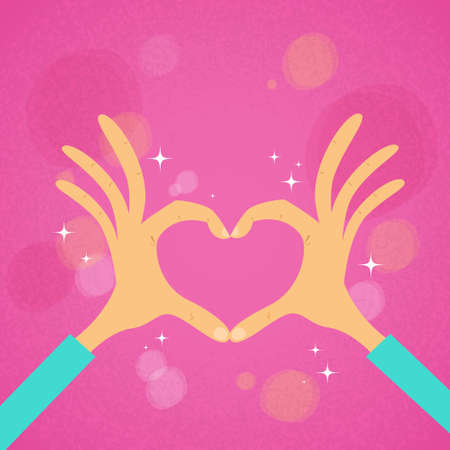 hand sign: Hands Heart Shape Pink Background Vector Illustration