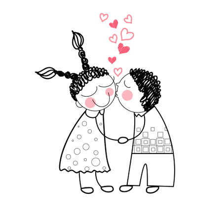 couple kiss: Couple Kiss Red Heart Shape Love Holding Hands Drawing Simple Line Vector Illustration Illustration