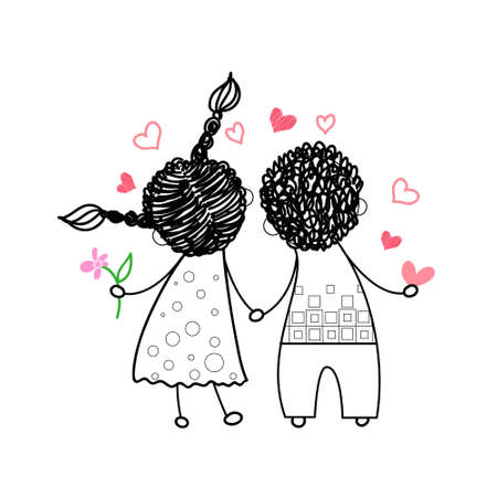 woman standing back: Couple Rear View Love Holding Hands Drawing Simple Line Vector Illustration
